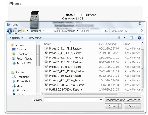 how to install ios manually using itunes