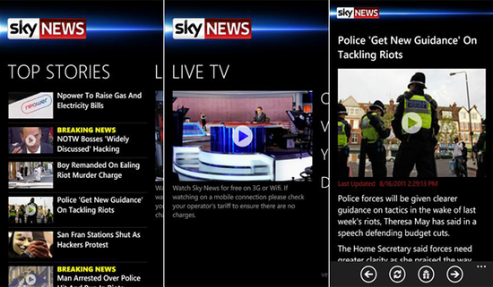 skynews App For Windows Phone